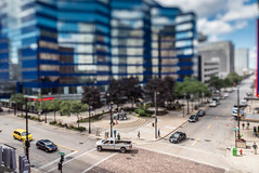 Pick-Up Truck in the Itty-Bitty-City (Sharky.pics) Tags: urban city wisconsin tiltshift july cityscape 2016 miniature milwaukee downtown