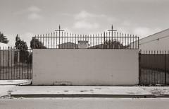 Heaven's fence (efo) Tags: bw film richmond california medalistii fence church religion