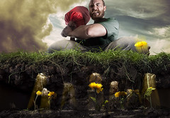 Done Playing Games? (Katelin Kinney) Tags: weeds garden flowers dandelions whack mole game arcade man angry kill grass yellow commercial advertising conceptual strobe photoshop retouching