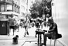 Dont judge the man in the horse costume busking (magpiedom) Tags: street newstreet birmingham horse piano fatherandson blackandwhite instep awkward costume westmidlands urban 18 candid entertainer busker