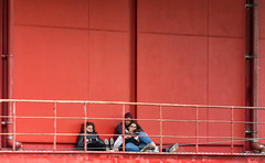 'Three's Company' (Canadapt) Tags: teens boyfriend girlfriend three railing red architecture street loures portugal canadapt