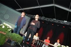 Suuren markkinatalouskeskustelun juonsivat Demokraatin päätoimittaja Mikko Salmi (vas) ja politiikan toimittaja Simo Alastalo