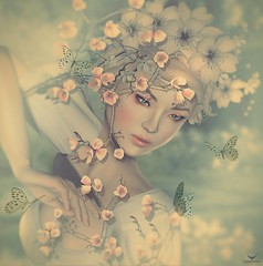 Cao~Cherry Blossom... (Skip Staheli (Clientlist closed)) Tags: flowers portrait sweet avatar butterflies sl digitalpainting secondlife cherryblossom dreamy virtualworld skipstaheli caoimhelionheart