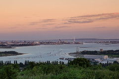Spinnaker City (NVOXVII) Tags: portsmouth spinnakertower landscape horizon dusk sunset view hilltop sea waterfront city colours warm summer july outdoor nikon foreground boats evening treeline harbour marina