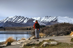 She added colour to my picture (Kevin_Jeffries) Tags: laketekapo newzealand mountain people candid nikon d90 alpine lake girl nature winter snow colour