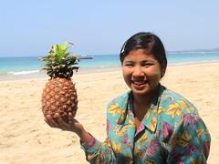 Pineapple Express (Give-on) Tags: asia burma myanmar ngapali beach bayofbengal pineapple coconut girl local