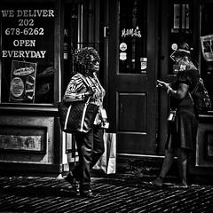 """Two Ladies In Front Of Mama's"", Martin Luther King, Jr. Avenue, Historic Anacostia, Washington, D.C. (Gerald L. Campbell) Tags: streetphotography street squareformat spirituality spiritualindifference socialdocumentary alienation anacostia bw blackwhite citylife community dc washingtondc woman freedom historicanacostia indifference restaurant textures urbanphotography urban canonsx50hs martinlutherkingjravenue"
