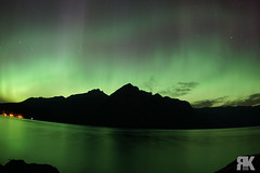 Aurora Over Lake Minnewanka (ryan.kole32) Tags: banff banffalberta banffnationalpark nationalpark alberta canada canadianrockies rockies rockymountains landscape nature beauty beautyinnature aurora auroraborealis northernlights night nightscape nightphotography lake lakeminnewanka stars clouds longexposure sony sonya77 mirrorimage reflection