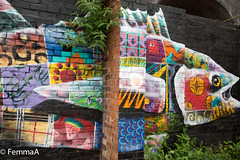 Graffitti fish (femmaryann) Tags: fish graffitti wallart mural outdoors multicolored fruity bricks custardfactory