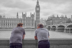 Discussion (John Fenner) Tags: nikon d750 nikkor 50mm f18 afd london houses parliament big ben clock westminster bridge river thames street colour pop bw mono