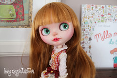 (Cyrielle 1) Tags: pink red flower cute girl japan mouth ginger factory eyelashes blossom teeth lips blond blythe freckles custom redhair commission eyelids sculpt rbl cyrielle frekkles