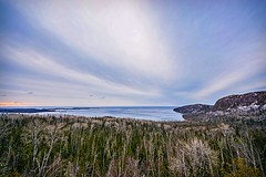 Scenic Overlook (Doug Wallick) Tags: sky lake tree water minnesota sunrise big highway angle great north wide shoreline scenic wave superior shore overlook tops 61