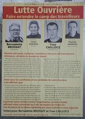 Bernadette Brossat - Yves Cailloce (emmanuelsaussieraffiches) Tags: poster political politique affiche lutteouvrire