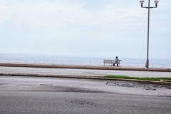 Sea view (Livesey's) Tags: france canon 5d 5dmarkiii 5dmark3 film 35mm 50mm eos person mastin sea sky urban think thinking green blue nice man bench beach concrete road asfalt 550d 1855 kitlens standard