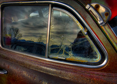 Cracked Wing Window (arbyreed) Tags: old reflection rusty hudson hdr reflectedsky hww wingwindow arbyreed vintagehudson windowwednesdays oldcrackedglass