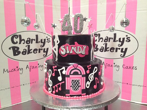 2 Tier Grease Lightning Diner Themed 40th Birthday Cake With 2D Fondant Jukebox On