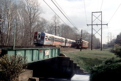 SEPTA NHSL Apr90 2 of 2 (jsmatlak) Tags: philadelphia electric speed train high metro pennsylvania tram railway line western septa norristown brill pw redarrow