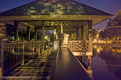 Pagoda Over the Water, Under the Stars (cleverfoxphotography) Tags: pagoda night pond bridge wooden asian louisiana lafayette girard park sky stars water mysterious