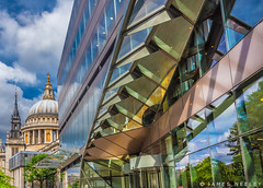 Old and New (James Neeley) Tags: london onenewchange stpaulscathedral jamesneeley
