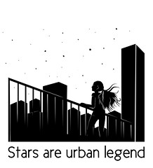 Stars are urban legend (Neta Manor) Tags: illustration netamanor stars urbanlegend city street rooftop skyline graphicarts graphic unique inspiration monochrome star galaxy today view milkyway true