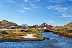 Laugavegur (Anthony Gehin) Tags: red summer sky house mountain snow trek river landscape iceland laugavegur hvanngil