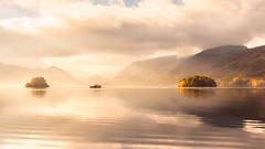 Derwent Morning (richjjones) Tags: uk morning autumn england lake mountains reflection water clouds sunrise landscape outdoors boat nikon lakedistrict derwentwater