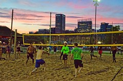 2016-07-18 Carolina Panthers (27) (cmfgu) Tags: baltimore beach volleyball bbv md maryland innerharbor rashfield sand sports court net ball outdoor league athlete game nfl nationalfootballleague players carolinapanthers camnewton joewebb damierebyrd aviuscapers tedginnjr stephenhill tobaispalmer milesshuler braxtondeaver scottsimonson beausandland sunset clouds sky color