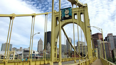 Andy Warhol Bridge, Pittsburgh. (dckellyphoto) Tags: bridge andywarholbridge threesisters pittsburgh pittsburghpa pittsburghpennsylvania pennsylvania alleghenycounty river alleghenyriver andywarhol warhol artist downtown cloudy klgates sky metal steel seventhstreetbridge upmc suspensionbridge yellow gulfbuilding conventioncenter