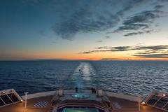 The Wake (duncan_mclean) Tags: qm2 atlantic queenmary2 sunset wake cruiseliner dusk boat cruiseship evening sea cunard