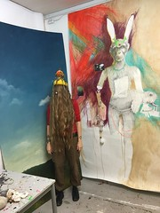 in my studio (Brynhild E Winther) Tags: brynhildwinther hare teikning drawing painting animism animal art studio sky hair