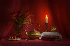 Still life with vintage brass tea kettle. (Phyllis Freels) Tags: phyllisfreels books brass candle candlelight clock cookies driedprotearepens flowers goldenrod indoor key spoon stilllife tabletop teapot vase vintage
