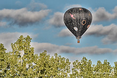 Floating Along (d allen johnson photograpy) Tags: united states america american new mexico bernalillo county albuquerque international balloon fiesta festival hot air propane gas aircraft gondola black fly flying sky airborn 2016 flight