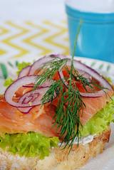 salmon sandwich1 (hallosunnymama) Tags: cheese dill bread lunch napkin salmon plate sandwich onion