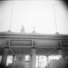 Rye Playland (Grannell E. Knox, Jr.) Tags: park camera new york old winter light bw white black reflection 120 ice analog toy amusement holga delta rye 1950s knox medium format analogue stark leak ilford marshland playland westchester fashioned marshlands grannell raccoonsarenotafraidofpeople