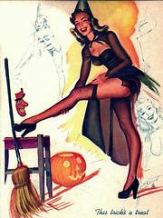 132 (frootloop350) Tags: halloween illustration vintage witch retro 1940s devil broom jol vintagehalloween thistricksatreat