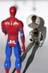 Possibility #51: The Webslinger 03302015 (Orange Barn) Tags: movie toy toys spiderman superhero novel thehitchhikersguidetothegalaxy douglasadams marvintherobot childstoy 100possibilities twittertuesday