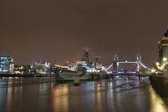 HMS Belfast. (miketonge) Tags: nightphotography london tower thames towerbridge hmsbelfast nightime toweroflondon londontower