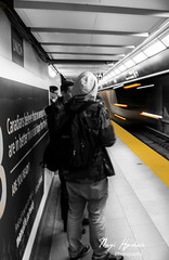 Subway (naqdak) Tags: people blackandwhite bw toronto canada public station train canon subway lights movement nikon ttc union transportation commute wait unionstation d5300