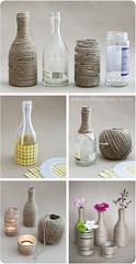 Upcycled glass bottles & jars (Craft & Creativity) Tags: flowers party inspiration diy bottle yarn tape jar recycling glassjar tutorial glassbottle upcycling makecreate