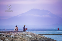 Mount Agung looms in the distance at sunset. (wrightontheroad) Tags: mountagung locals mtagung volcano sanur bali indonesia