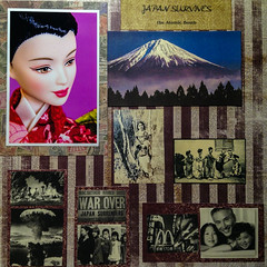 Japan Survives Page (No Talent Bum) Tags: wwii worldwarii japan hiroshima atomicbomb nuclearwarfare scrapbookpages barbie barbiejapaneseprincess kimono mountfuji japaneseculture nikon