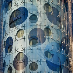 Bubble Nebula (Paul Brouns) Tags: bubbles circles facade rounded round holland netherlands fletcher hotel amsterdam architecture tower geometry layers paulbrouns paulbrounscom paul brouns blue pattern circular square windows lookup looking up space station