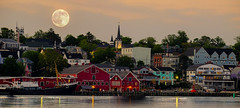 Lunenburg N.S. moon (Explored 08/15/16) (qualistat) Tags: lunenburg nova scotia novascotia fullmoon doubleexposure fuji fujifilm xpro2 harbour sea ocean water
