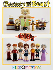 Servants as minidolls (Beauty and the Beast) (brickomotion) Tags: beauty beast lumiere cogsworth fifi chip potts chef lego custom minidolls dollify wardrobe madamme