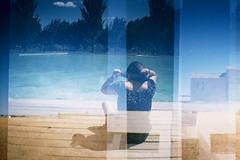 Summer (Robert Olaf) Tags: summer verano kodak kodakportra400 color colors dianamini lomo film grain pelicula water twinpeaks stephenshore wwwrobertolafcom robertolaf blue yellow doubleexposure experiment