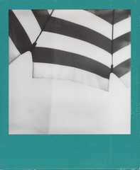 STRIPED (ale2000) Tags: impossible i1 instant photography abstract stripes bw blanc white 600 hard color frame film minimal minimalistic minimialismo sunshade umbrella ombrellone