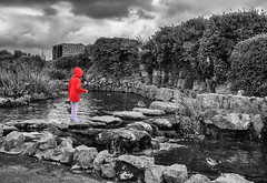 Red Coat (davep90) Tags: davep90 fujifilm lytham st annes flyde colour pop mono 1855 red coat kid water stepping stones folly gardens