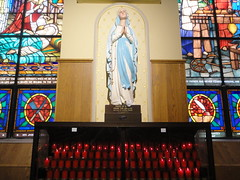 Our Lady of Lourdes (misslaurenpick) Tags: ourladyoflourdes ourladyoflourdesprayforus ourladyoflourdesstatue virginmary candles churchcandles catholic light photography indoor aglow prayer prayforus stjoseph stjosephtheworker stjosephtheworkershrine shrine catholicshrine stainedglasswindows