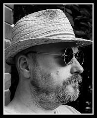 Me Ilford XP20 (veggiesosage) Tags: me myself i self selfportrait hat sunglasses strawhat fujifilm fujifilmx20 x20 blackandwhite dxofilmpack