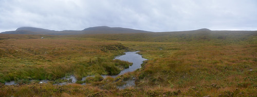 Sandwood Panorama - Crossing very boggy ground as we leave Strathchailleach Bothy